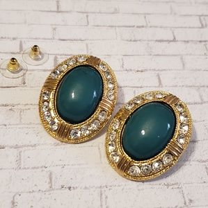 Green & Gold Statement Earrings